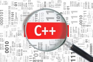 Software development concept. C++ (C plus plus) programming language in binary code.